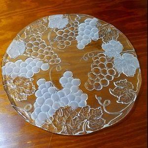 Vintage Glass Platter w/Grape Theme